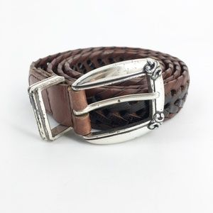FOSSIL Vintage Genuine Leather Braided Belt Size L